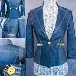 Fabric imported from Italy:Bebe stretch denim jckt